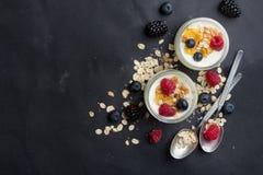 Jogurt mit Granola oder muesli Lizenzfreies Stockfoto