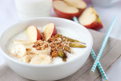 Jogurt mit Granola und Früchten Lizenzfreies Stockfoto