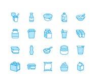 Jogurt pakuje mieszkanie kreskowe ikony Nabiały - dojna butelka, śmietanka, kefir, serowe ilustracje Ciency błękitów znaki dla royalty ilustracja