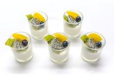 Jogurt penna Cotta mit verschiedenen Früchten Stockfotos