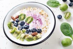 Jogurt Smoothieschüssel mit Supernahrungsmitteln Stockfotografie
