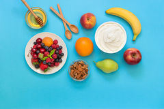 Jogurt und Früchte, Beeren, Nüsse, Honig als Bestandteile Stockbilder