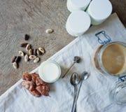 Jogurt und Karamellpudding Stockfoto
