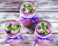Jogurt z czarnymi jagodami i mennicą, zakończenie, selekcyjna ostrość Fotografia Stock