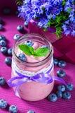 Jogurt z czarnymi jagodami i mennicą Fotografia Royalty Free