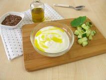 Jogurt z flaxseed olejem Zdjęcie Royalty Free