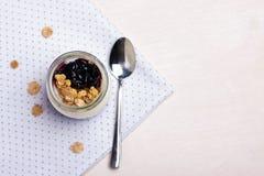 Jogurt z granola Zdjęcie Royalty Free