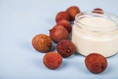 Jogurt z lychee Fotografia Stock