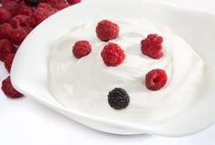 Jogurt z malinkami Obraz Royalty Free