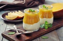 Jogurt z mango Zdjęcie Stock