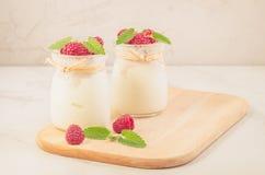 Jogurt z mieszanką malinka, mennica i Domowej roboty jogurt z malinką na drewnianej tacy/ zdjęcie stock