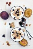Jogurt z muesli i jagodami Fotografia Stock