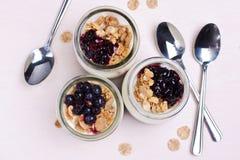 Jogurt z muesli w słojach Zdjęcie Royalty Free