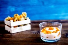 Jogurt z pęcherzycą na drewnianym tle Obrazy Stock