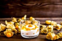 Jogurt z pęcherzycą na drewnianym tle Obrazy Royalty Free