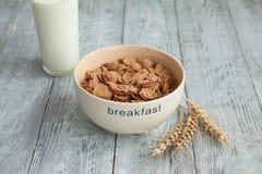 Jogurt, zboże w talerzu dla zdrowego śniadania Zdjęcie Stock