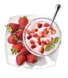 Jogurtu alle fragole przeciwu pezzi Zdjęcia Royalty Free