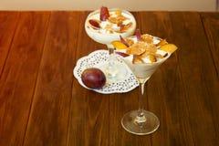 Jogurtu deser z śliwkami i banatka płatkami Zdrowy deser z Fotografia Stock