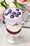 Jogurtu deser z lato owoc obraz stock
