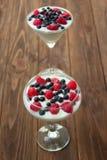 Jogurtu deser z malinkami i czarnymi jagodami Obrazy Royalty Free