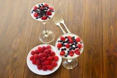 Jogurtu deser z malinkami i czarnymi jagodami Obraz Royalty Free