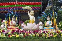 Jogyesa寺庙和寺庙在汉城,韩国 免版税库存图片