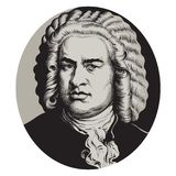 Johann Sebastian Bach. Great German composer and musician. Hand drawn vector portrait in the style of engraving isolated on white background Stock Illustration
