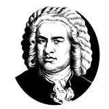 Johann Sebastian Bach. Great German composer and musician. Hand drawn vector portrait in the style of engraving isolated on white background Royalty Free Illustration