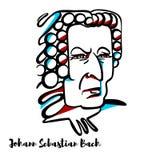 Johann Sebastian Bach Portrait royalty-vrije illustratie