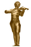 Johann Strauss Golden Statue på vit Royaltyfria Foton