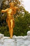 Johann Strauss Golden Statue in StadtPark Royalty Free Stock Image