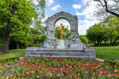 Johann Strauss monument in Stadtpark, Vienna, Austria royalty free stock images