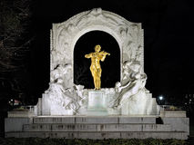 Johann Strauss monument in Vienna Stadtpark in night, Austria Stock Photo
