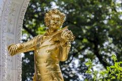 Johann Strauss-standbeeld Wenen, Oostenrijk Royalty-vrije Stock Foto's