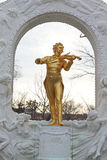 Johann Strauss statue on pedestal Royalty Free Stock Photos
