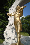 Johann Strauss - Vienna. Vienna's most photographed destination, the Johann Strauss monument in Stadtpark. Close up wide angle Royalty Free Stock Photography