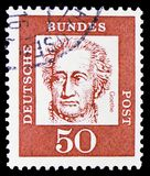 Johann Wolfgang von Goethe (1749-1832), poet, Famous Germans serie, circa 1961. MOSCOW, RUSSIA - FEBRUARY 20, 2019: A stamp printed in Germany, Federal Republic stock photos
