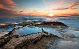 Johanna Beach en la puesta del sol Foto de archivo libre de regalías