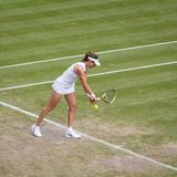 Johanna Konta at Wimbledon stock photography