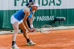 Johanna Larsson στην τρίτη στρογγυλή αντιστοιχία, Roland Garros 2014 Στοκ φωτογραφία με δικαίωμα ελεύθερης χρήσης