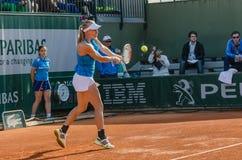 Johanna Larsson i den tredje runda matchen, Roland Garros 2014 Arkivbild