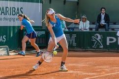 Johanna Larsson i den tredje runda matchen, Roland Garros 2014 Arkivbilder