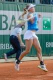 Johanna Larsson i den tredje runda matchen, Roland Garros 2014 Royaltyfri Fotografi