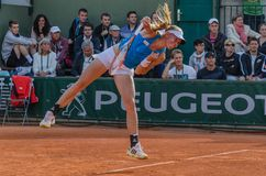 Johanna Larsson in third round match, Roland Garros 2014. Paris, France - May 30, 2014: Johanna Larsson of Sweden during the 3rd round match at French Open Royalty Free Stock Photography