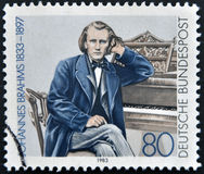 Johannes Brahms. A stamp printed in Germany shows Johannes Brahms, Composer stock image