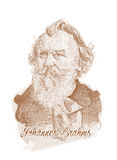 Johannes Brahms Engraving Style Sketch Portrait Stock Photos