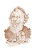 Johannes Brahms gravant la verticale de croquis de type Photos stock