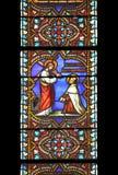 Johannes des Kreuzes, Buntglasfenster Stockbild