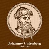 Johannes Gutenberg 1400-1468 era una impresora y un editor alemanes que introdujeron la impresión a Europa con la prensa stock de ilustración