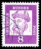 Johannes Gutenberg about 1397-1468, inventor of typography, Distinguished Germans serie, circa 1961. MOSCOW, RUSSIA - MARCH 30, 2019: A stamp printed in Germany stock image